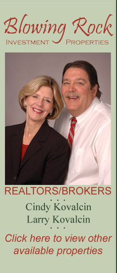 Blowing Rock Investment Properties. Realtors/Brokers. Cindy Kovalcin, Larry Kovalcin. Click here to view other properties.